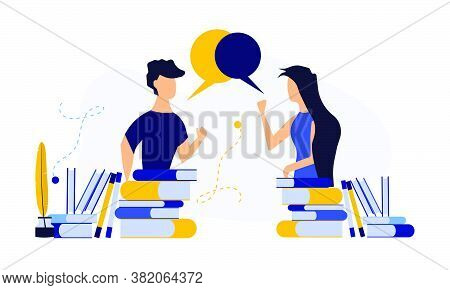 Vector Person Communication With Woman And Man Concept Illustration. Social Network Media Connection