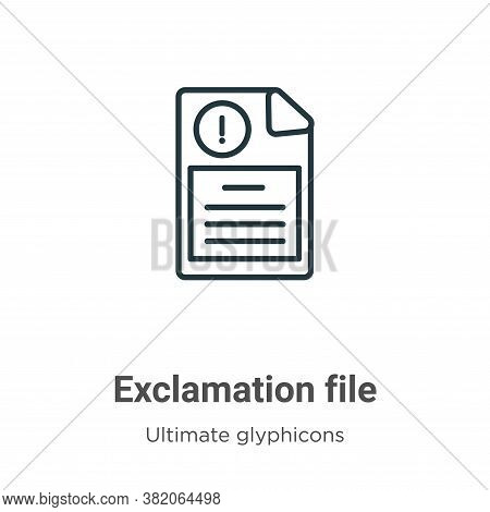 Exclamation file icon isolated on white background from ultimate glyphicons collection. Exclamation