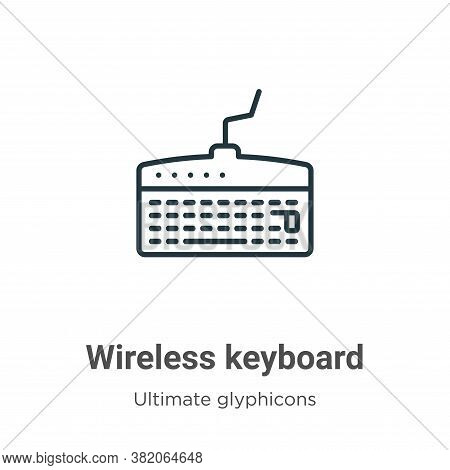 Wireless keyboard icon isolated on white background from ultimate glyphicons collection. Wireless ke