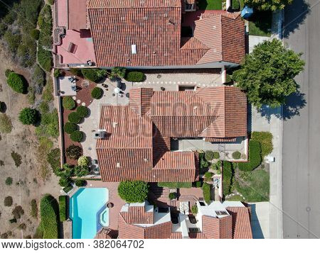 Aerial Top View Of Middle Class Residential House In Rancho Bernardo, South California, Usa. August