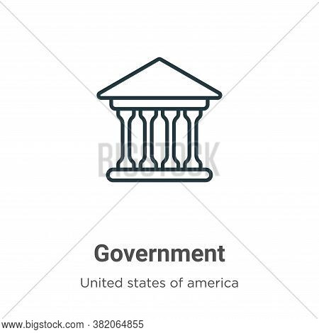 Government icon isolated on white background from united states of america collection. Government ic