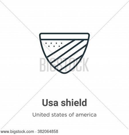 Usa shield icon isolated on white background from united states of america collection. Usa shield ic