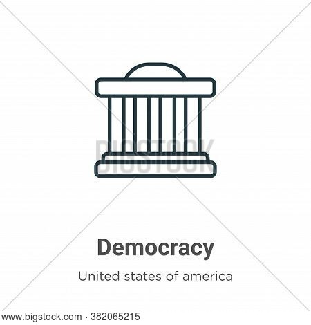 Democracy icon isolated on white background from united states collection. Democracy icon trendy and