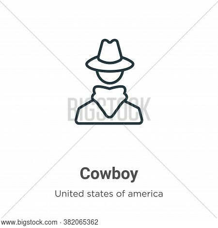 Cowboy icon isolated on white background from united states collection. Cowboy icon trendy and moder
