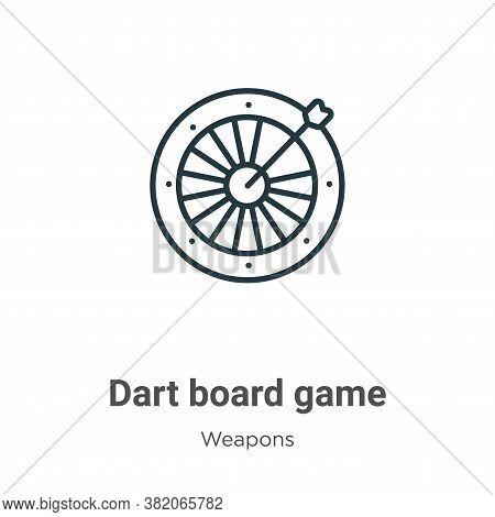Dart board game icon isolated on white background from weapons collection. Dart board game icon tren