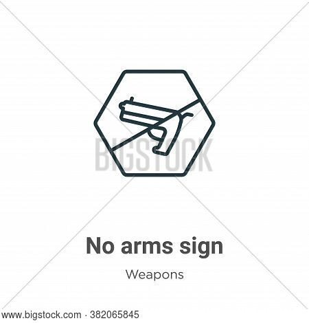 No arms sign icon isolated on white background from weapons collection. No arms sign icon trendy and