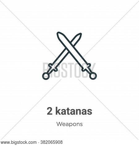 2 katanas icon isolated on white background from weapons collection. 2 katanas icon trendy and moder