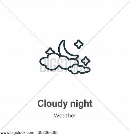 Cloudy night icon isolated on white background from weather collection. Cloudy night icon trendy and