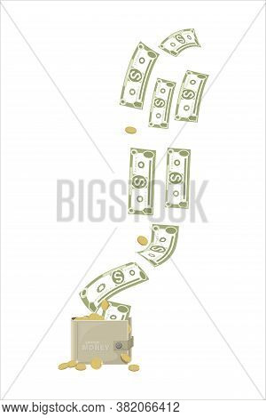 Dollars Signs, Gold Coins. Cash Flow. Falling Money Isolated On White Background. American Bill, Cur