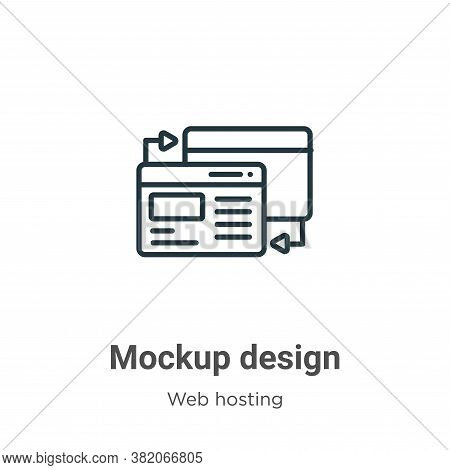 Mockup design icon isolated on white background from web hosting collection. Mockup design icon tren