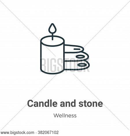 Candle and stone icon isolated on white background from wellness collection. Candle and stone icon t