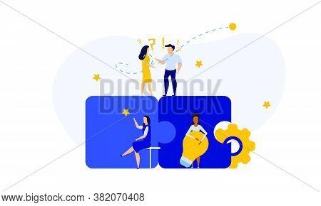 Puzzle Team Work Vector Illustration Concept Partner. Partnership Teamwork Business People Collabora