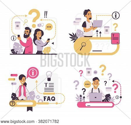 Faq Concept. Customer Support And Forum Question Metaphor, Helpful Information And Online Communicat
