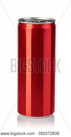 Red aluminum can isolated on white