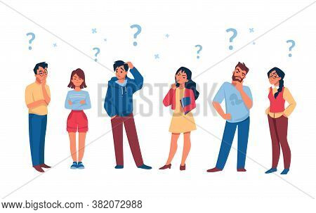 Asking People. Cartoon Curious Persons With Question Marks Solve Problem And Thinking. Vector Illust