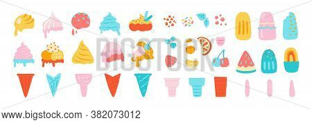 Ice Cream Elements. Waffle Cons With Sundae, Chocolate Vanilla And Other Ice Cream Balls, Nuts Straw