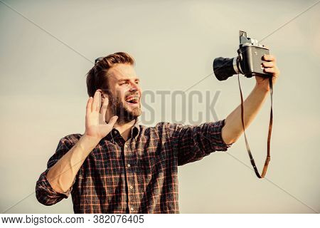 Hi I Am Here. Travel With Camera. Male Fashion Style. Looking Trendy. Macho Man With Camera. Sexy Ma