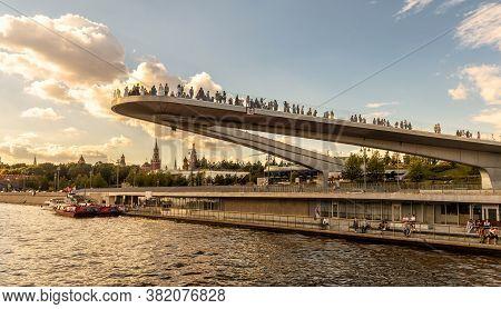 Moscow - Aug 21, 2020: Floating Bridge In Zaryadye Park Near Moscow Kremlin, Russia. Zaryadye Is One