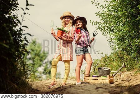 Eco Farming Concept. On Way To Family Farm. Agriculture Concept. Adorable Girls In Hats Going Planti