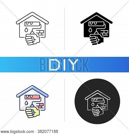 Home Repairs Black Glyph Icon. House Renovation. Building Redecoration. Handyman Service For Refurbi