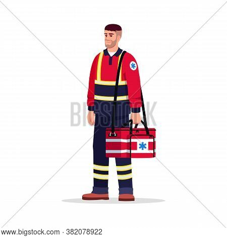 Emergency Medical Technician Semi Flat Rgb Color Vector Illustration. Health Professional. Male Para