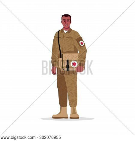 Military Surgeon Semi Flat Rgb Color Vector Illustration. Male Military Doctor. Combat Medic. Young