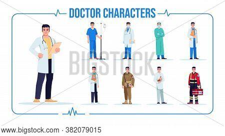 Asian Doctor Semi Flat Rgb Color Vector Illustration Set. General Practitioner. Alternative Medicine