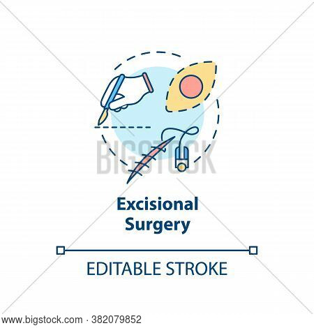 Excisional Surgery Concept Icon. Skin Lesions. Tumor Removal. Melanoma Treatment. Excisional Biopsy