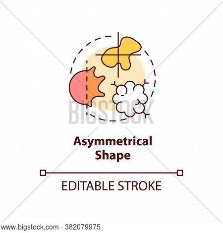 Asymmetrical Shape Concept Icon. Warning Sign. Abcdes Of Melanoma. Abnormal Moles Idea Thin Line Ill