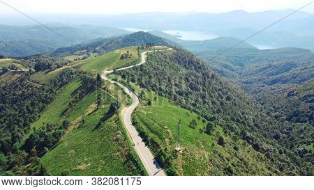 mottarone, italy. mountain road top view