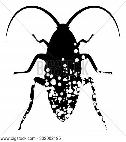Damaged Cockroach Icon On A White Background. Isolated Damaged Cockroach Symbol With Flat Style.
