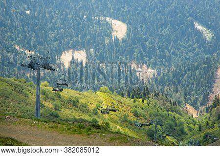 July 4, 2020, Russia, Sochi, Krasnaya Polyana. Cable Car On Krasnaya Polyana In Sochi. Cable Car Aga