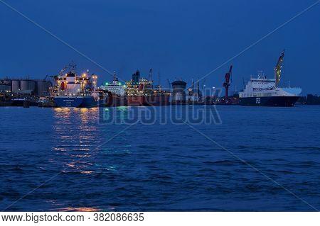 Vlaardingen, Netherlands - August 10, 2020: Three Vessels In The Industry Harbor Of Vlaardingen, Net