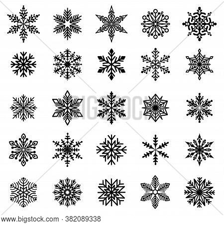 Snowflakes. Set Of Varied Snowflakes. Design Element For Christmas, New Years And Winter Holidays. B