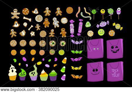Halloween Candy Collection. A Large Set Of Sweets. Popular On Isolated Desserts, Childrens Sweets. J