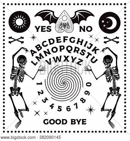 Ouija Board With Skeletons. Occultism Set. Vector Illustration.