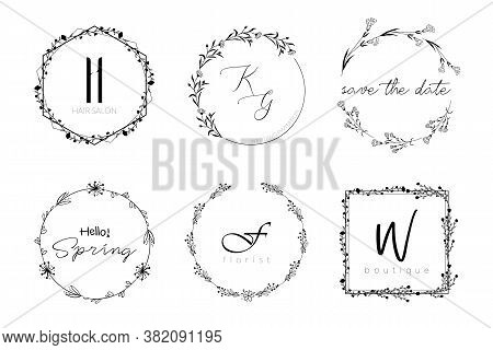 Floral Wreath Minimal Design For Wedding Invitation Or Brand Logo. Vector Template With Flourishes O
