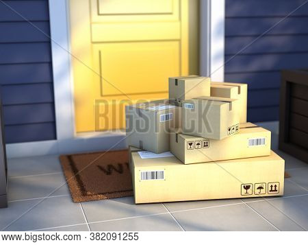 Online purchase delivery service concept. Cardboard parcel box delivered outside the door. Parcels on the door mat near entrance door. 3d rendering