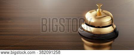 Service, hotel concept. Golden reception bell on wood reception desk - 3d illustration
