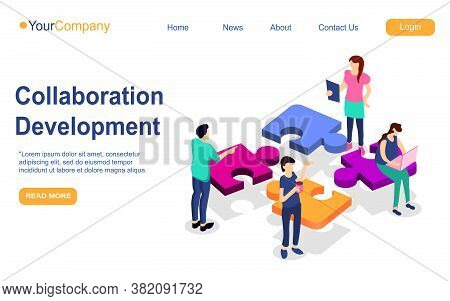 Business Teamwork Landing Page. Puzzle Elements With Business People, Leadership And Collaboration.