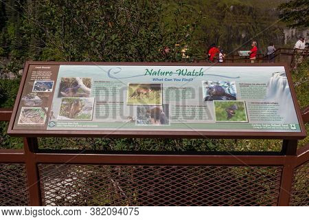 Mesa Falls Scenic Byway, Idaho / Usa - July 20, 2014:  A Sign Showing Information About The Animals