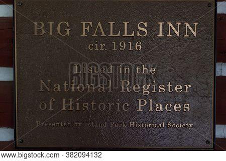 Mesa Falls Scenic Byway, Idaho / Usa - July 20, 2014:  A Sign Declaring The Big Falls Inn As Listed