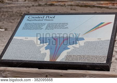 Yellowstone National Park, Wyoming / Usa - July 22, 2014:  A Metal Sign Giving Information About Cre