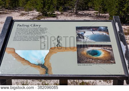 Yellowstone National Park, Wyoming / Usa - July 22, 2014:  A Metal Sign Giving Information About The