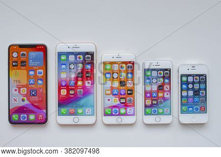 Calgary, Alberta, Canada. Aug 23, 2020. Several Iphones. Front View Of Vintage Iphones. History Of A