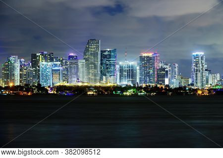 Miami, Florida, Usa Downtown Cityscape Miami Skyline
