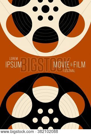 Movie And Film Poster Design Template Background Vintage Retro Style. Graphic Design Element Can Be