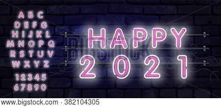 Neon New Year 2021 Greeting Card - Neon White Letters 2021 Neon Sign, Bright Signboard, Light Banner