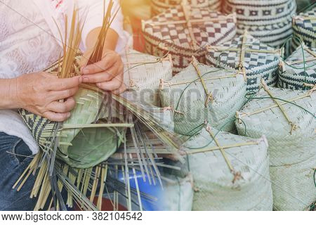 Thai Otop Handcraft Products Thai Style Sticky Rice Box Woven From Sugar Palm Leaf Lanna Handmade St