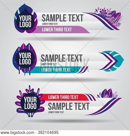 Lower Third White And Colorful Design Tv Template Modern Contemporary. Set Of Banners Bar Screen Bro